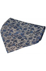 Soprano Silver With Blue Small Flowers Silk Hanky