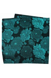 Soprano Turquoise And Teal Large Flowers Silk Hanky