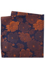 Soprano Brown And Burnt Orange Large Flowers Silk Pocket Square