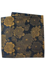 Soprano Navy Ground With Large Gold Flowers Silk Pocket Square