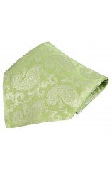 Soprano Wedding Green Paisley Woven Silk Pocket Square