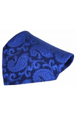Soprano Royal Blue Paisley Woven Silk Pocket Square