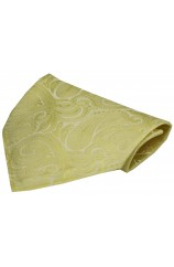 Soprano Pastel Yellow Paisley Luxury Silk Hanky