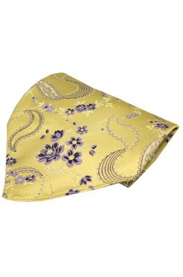 Soprano Bright Gold Floral Patterned Silk Pocket Square