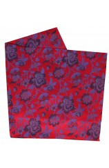 Soprano Red Floral Patterned Silk Hanky