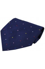 Navy with Multi coloured Pin Dots Silk Hanky