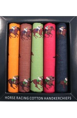 Five Pack Multi Coloured Horse Racing Themed Cotton Hankies