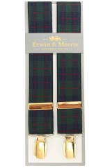 Erwin & Morris made in UK Green Tartan Guilt Feathered 4 Clip Braces