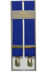 Erwin & Morris Made In UK Royal Blue 35mm 4 Clip Braces