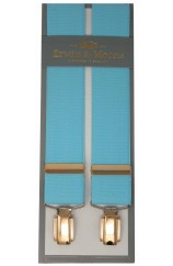 Erwin & Morris Made In UK Sky Blue 35mm Gilt 4 Clip Braces