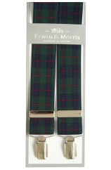 Erwin & Morris made in UK Black Watch Tartan 35mm Nickel Feathered 4 Clip Braces