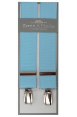 Erwin & Morris Made In UK Sky Blue 35mm 4 Clip Braces