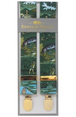 Erwin & Morris made in UK  Fly Fishing Green  35mm Gilt Feathered 4 Clip Braces