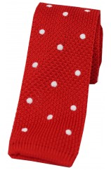 Soprano Red and White Polka Dot Thin Knitted Polyester Tie