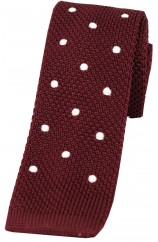 Soprano Wine and White Polka Dot Thin Knitted Polyester Tie