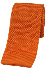 Soprano Orange Plain Thin Knitted Polyester Tie