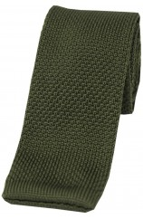 Soprano Country Green Plain Thin Knitted Polyester Tie