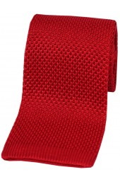 Soprano Letter Box Red Plain Knitted Silk Tie