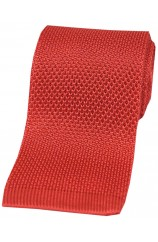 Soprano Coral Pink Plain Knitted Silk Tie