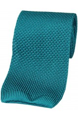 Soprano Turquoise Plain Knitted Silk Tie