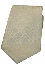 Soprano Limited Edition Ivory With Silver Rectangle Shapes Silk Tie