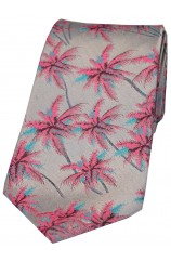 Soprano Limited Edition Silver With Pink Palm Trees Silk Tie