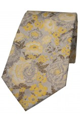 Soprano Limited Edition Silver Gold Floral Silk Tie