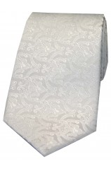 Soprano Limited Edition White Edwardian Wallpaper Design Silk Tie