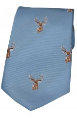 Soprano Stags Head Woven Silk Tie On Blue Ground