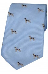 Soprano Pointer Dogs Woven Silk Tie On Blue Ground