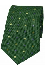 Soprano Green With Small flowers Woven silk Tie