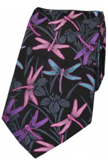 Posh and Dandy Black Ground Multi Coloured Dragon Flies Silk Tie