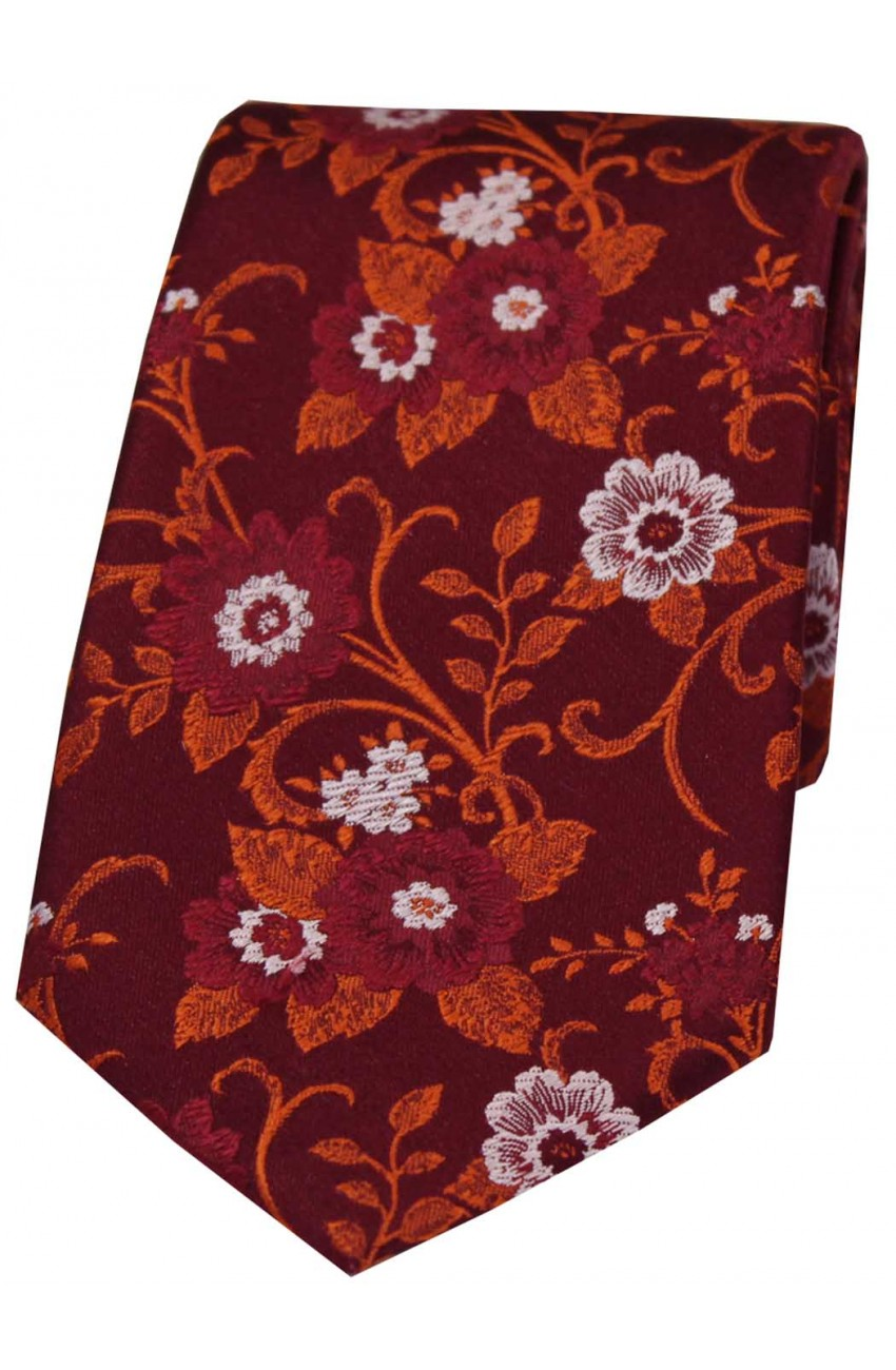 Soprano Wine And Burnt Orange Flowers Woven Silk Tie