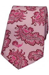 Soprano Pink Ground Large Feather Silk Tie.