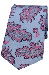 Soprano Blue Ground And Pink Large Feather Silk Tie.