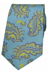 Soprano Blue Ground With Yellow & Purple Large Feather Silk Tie.