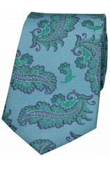 Soprano Blue Ground With Green Large Feather Silk Tie.