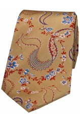 Soprano Old Gold Multi Coloured Flowers Silk Tie.