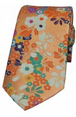 Posh & Dandy Peach Ground Multi Coloured Flowers Luxury Silk Tie