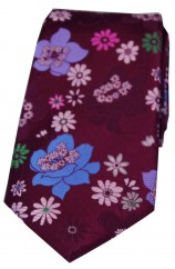 Posh & Dandy Wine Ground Multi Coloured Petal Flowers Luxury Silk Tie