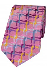 Posh & Dandy Pink Multi Coloured Chain Design Silk Tie