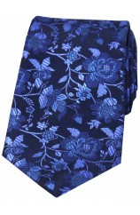Soprano Navy Ground With Blue And Lilac Flowers silk Tie