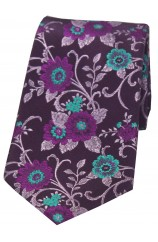 Soprano Purple Ground With Multi Coloured Flowers silk Tie