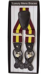 Maroon and Yellow Regimental Striped 35mm elastic Leather End Braces