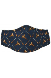Navy Pheasants & Guns Washable And Reusable 100% Cotton Face Mask