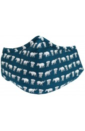 Navy Elephants Washable And Reusable 100% Cotton Face Mask