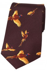 Soprano Flying Pheasants Wine Ground Country Silk Tie