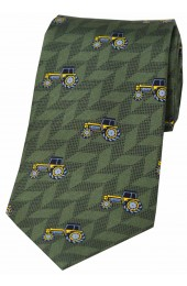 Soprano Yellow Tractors On Country Green Ground Country Silk Tie