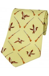 Soprano Flying Ducks On Pastel Yellow Ground Country Silk Tie