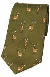 Soprano Standing Stag On Country Green Ground Country Silk Tie